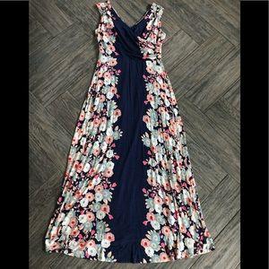 Boden Floral Knit maxi dress stretch double v 10